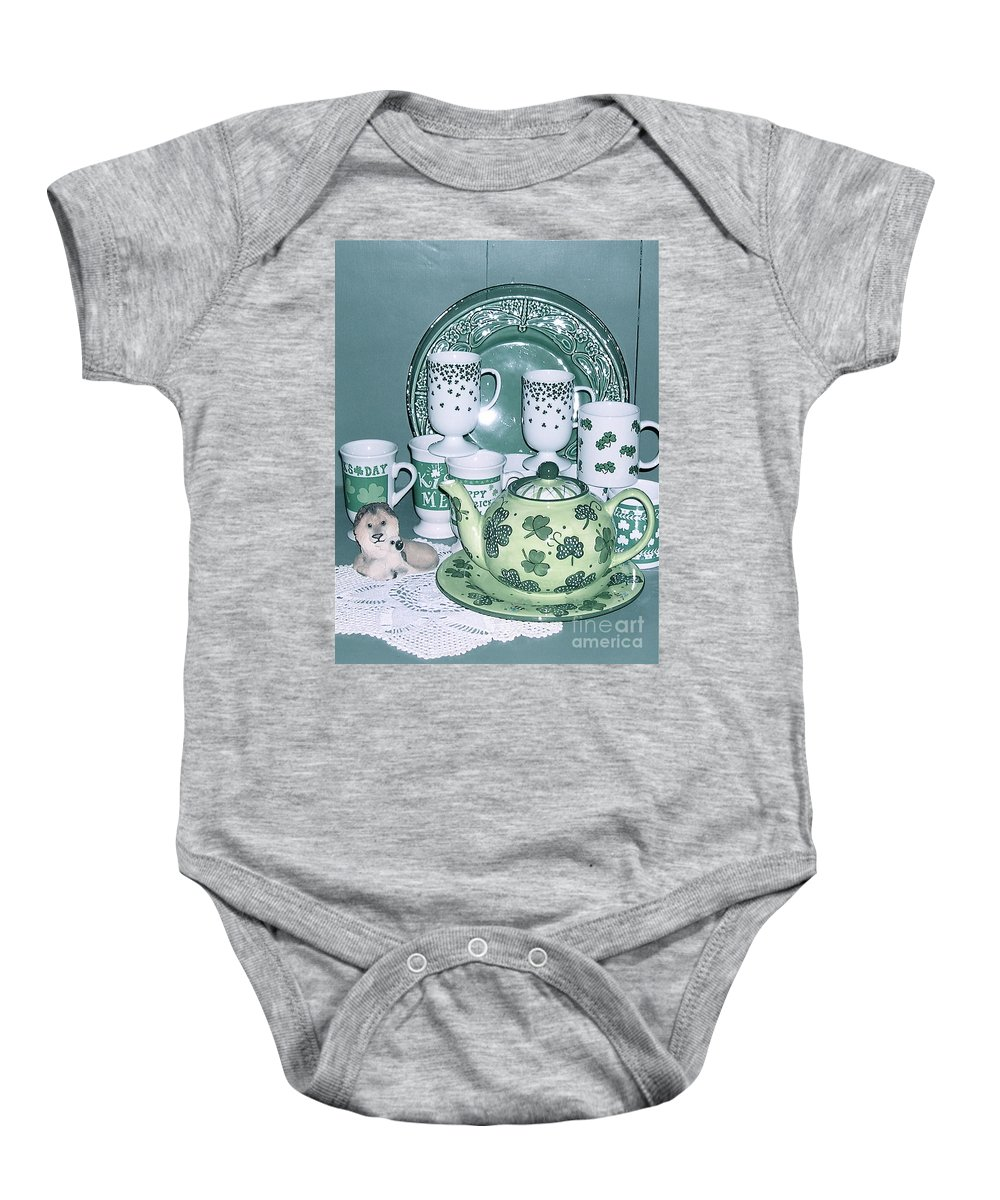 Shamrock Mugs Baby Onesie featuring the photograph All Ready For March by Nancy Patterson