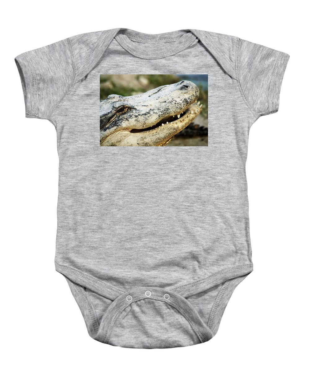 Outdoors Baby Onesie featuring the photograph Alligator by Con Tanasiuk