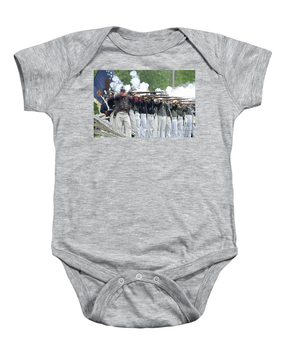 War Of 1812 Baby Onesie featuring the photograph American Firing Line by JT Lewis