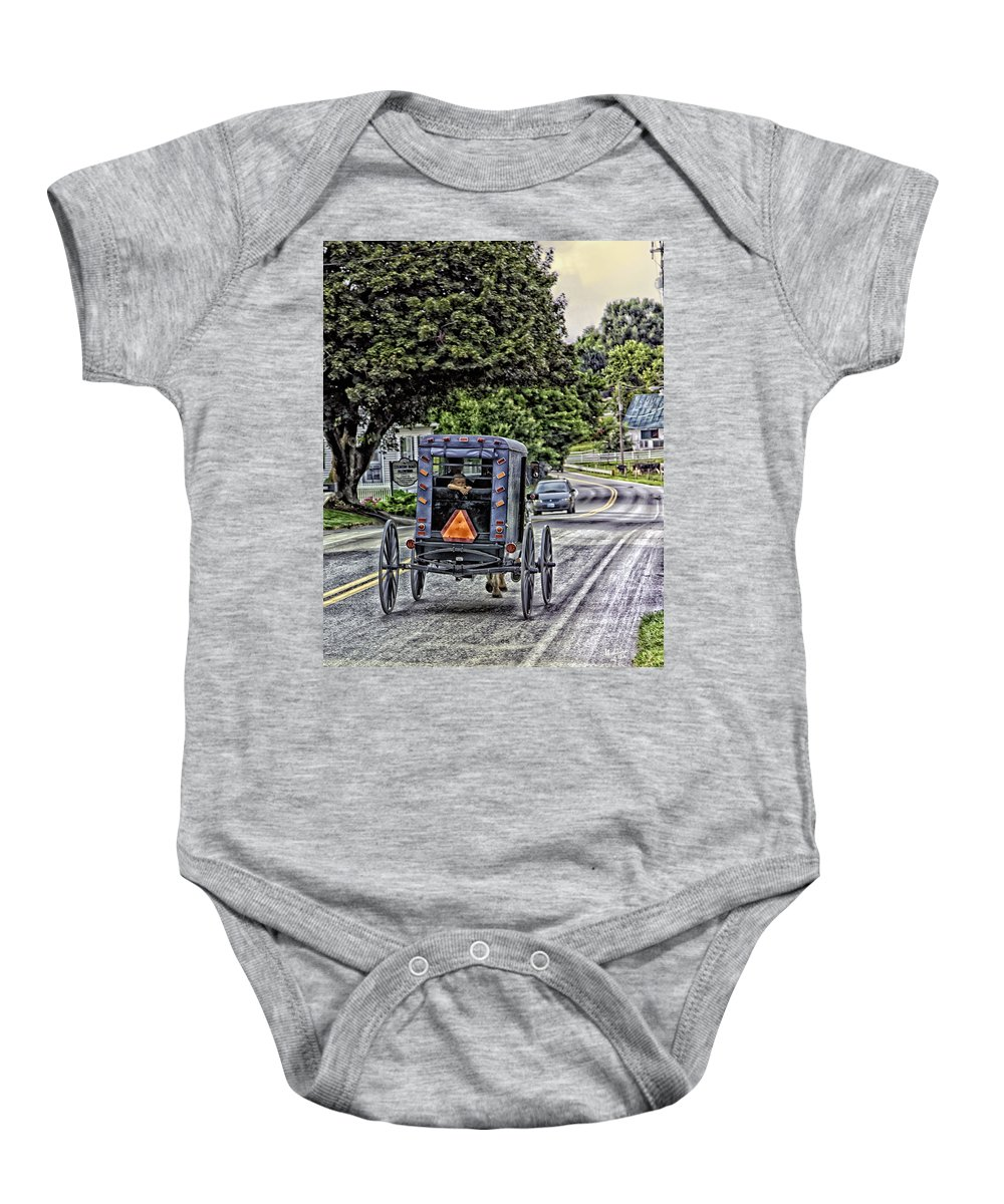 Country Road Baby Onesie featuring the photograph Amish Girl by Madeline Ellis