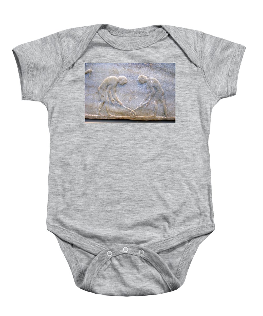 Ancient Hockey Baby Onesie featuring the photograph Ancient Hockey by Andonis Katanos