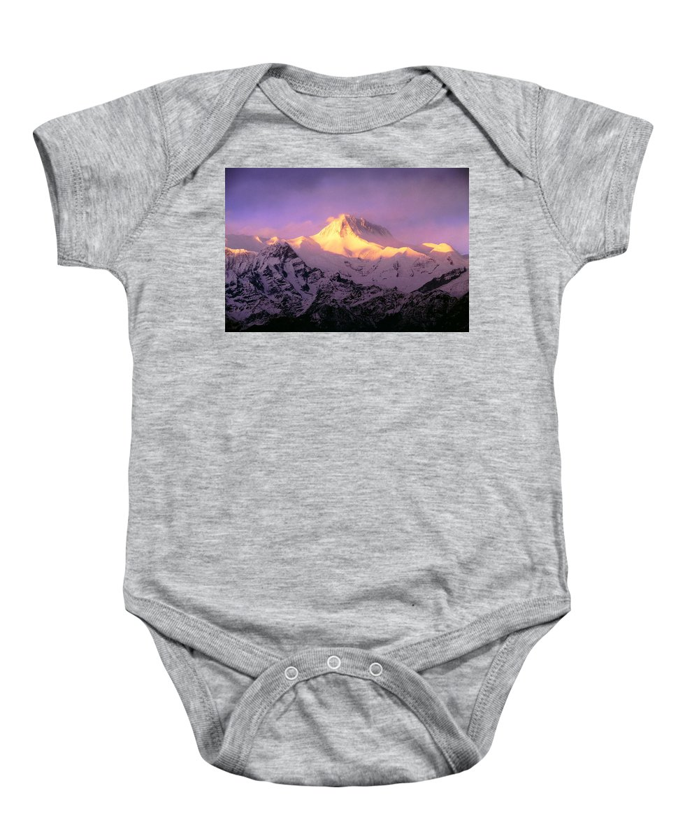 Beauty In Nature Baby Onesie featuring the photograph Annapurna South At Sunrise, Nepal by Bilderbuch