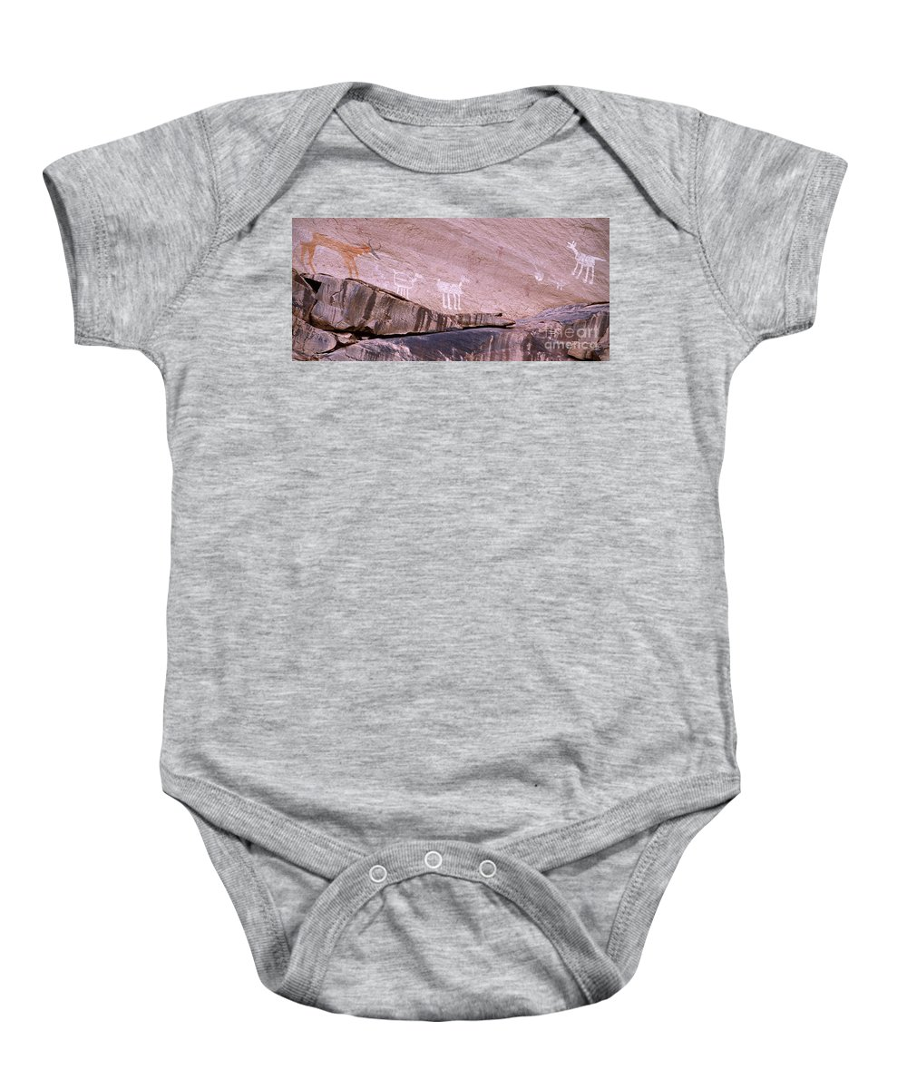 Antelope House Ruin Baby Onesie featuring the photograph Antelope House Petroglyphs by Bob Christopher