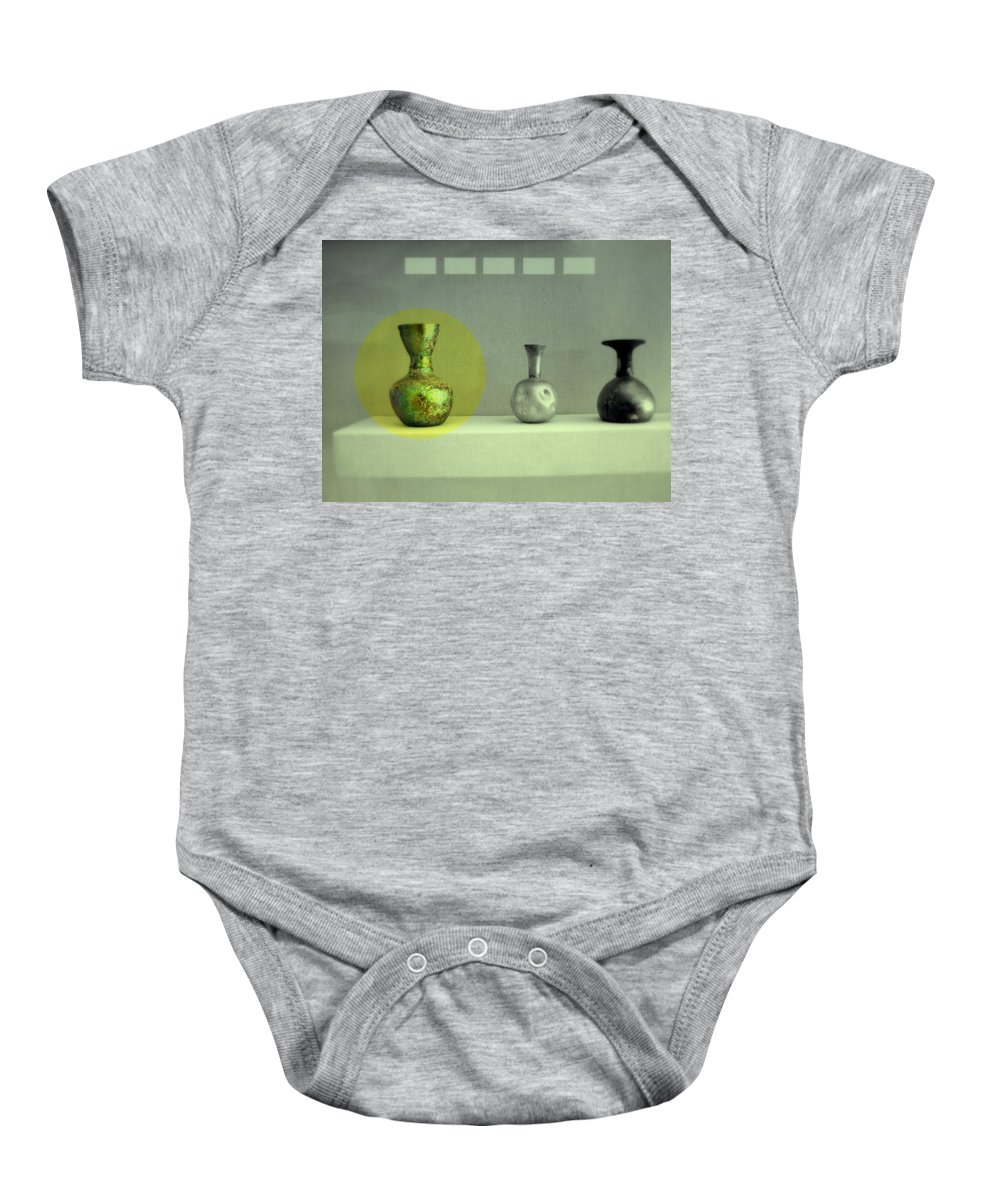Still Life Baby Onesie featuring the photograph Antique Vases Still Life Altered II by Kathleen Grace