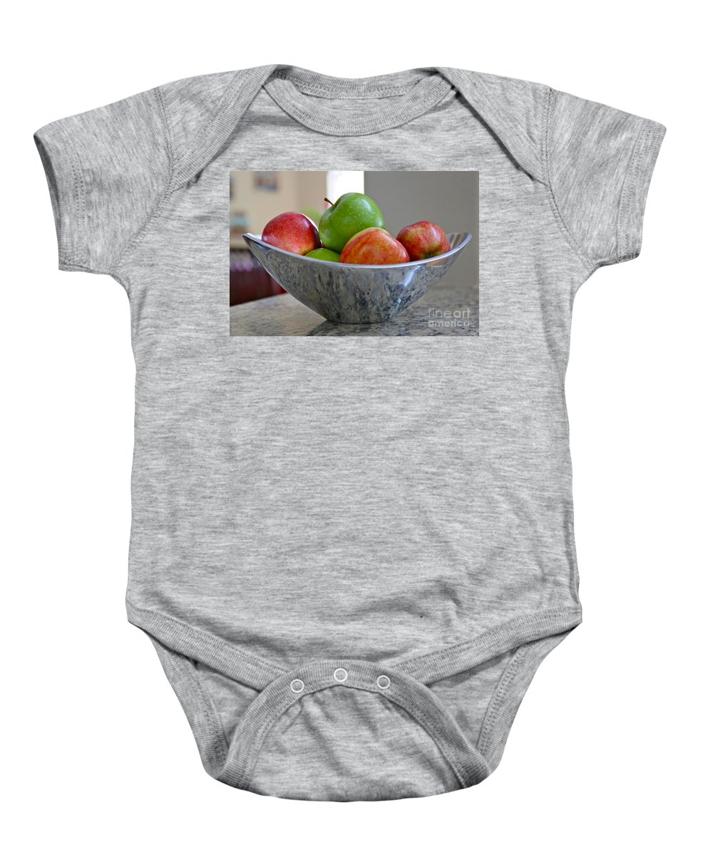 Apples Baby Onesie featuring the photograph Apples In Fruit Bowl by Carol Groenen
