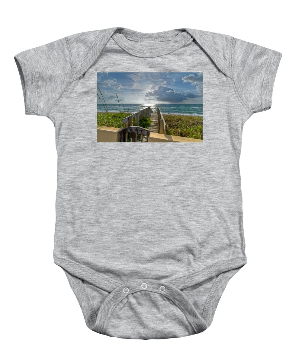 Clouds Baby Onesie featuring the photograph Aqua Seas by Debra and Dave Vanderlaan
