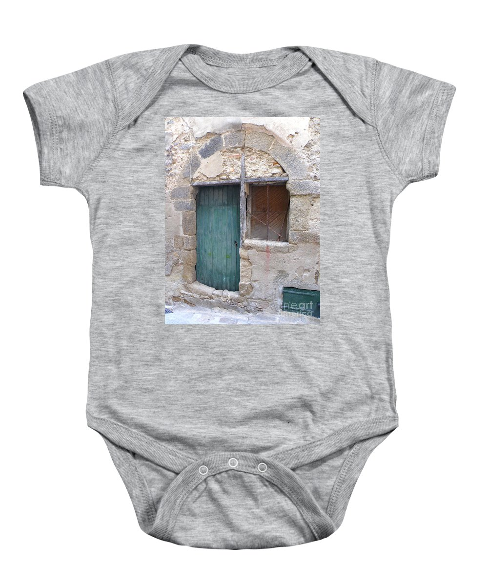 Door Baby Onesie featuring the photograph Arched Stone Work Over Door by Lainie Wrightson
