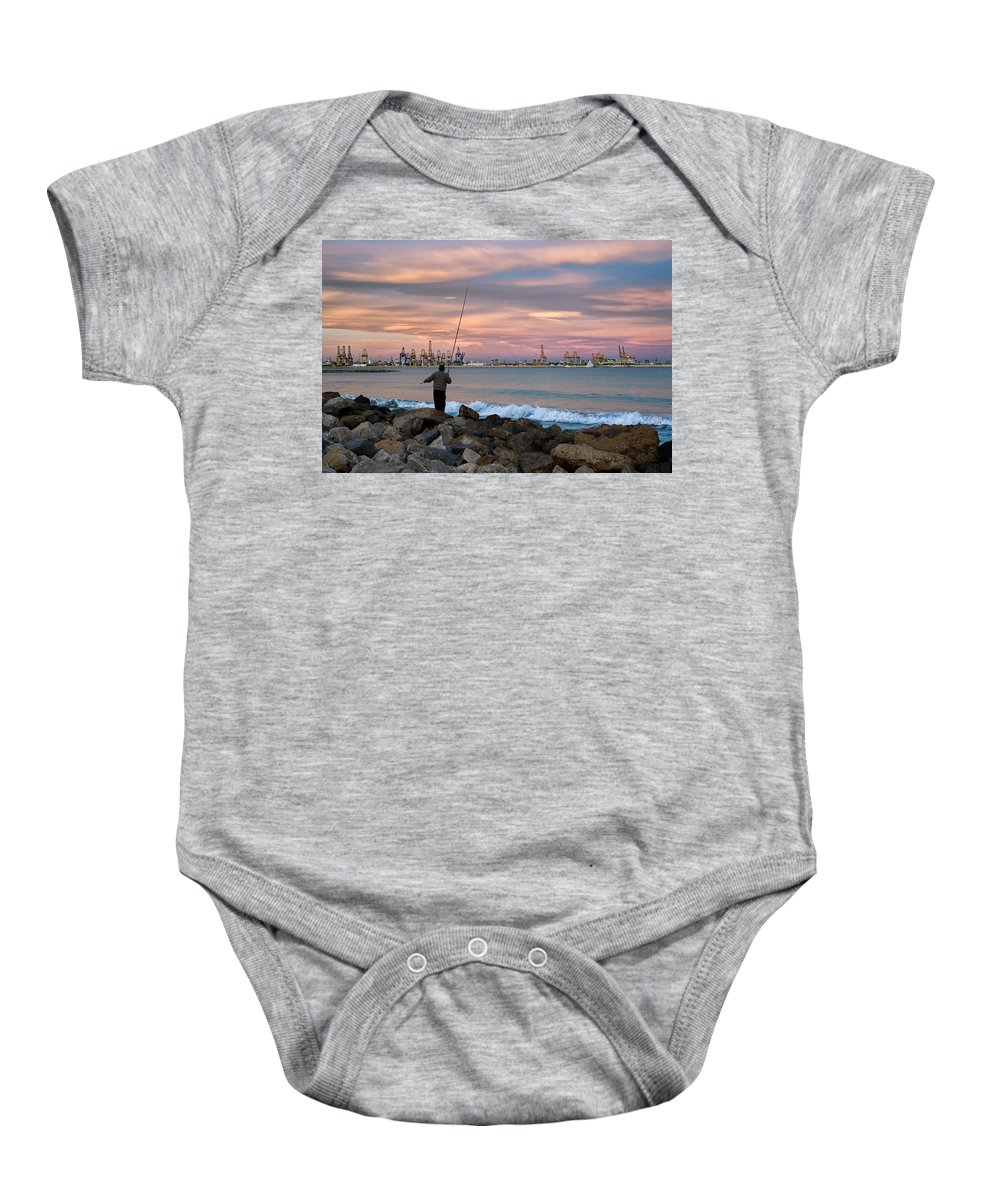 Cranes Port Baby Onesie featuring the photograph As He Caught His Dinner .... by Juan Carlos Ferro Duque