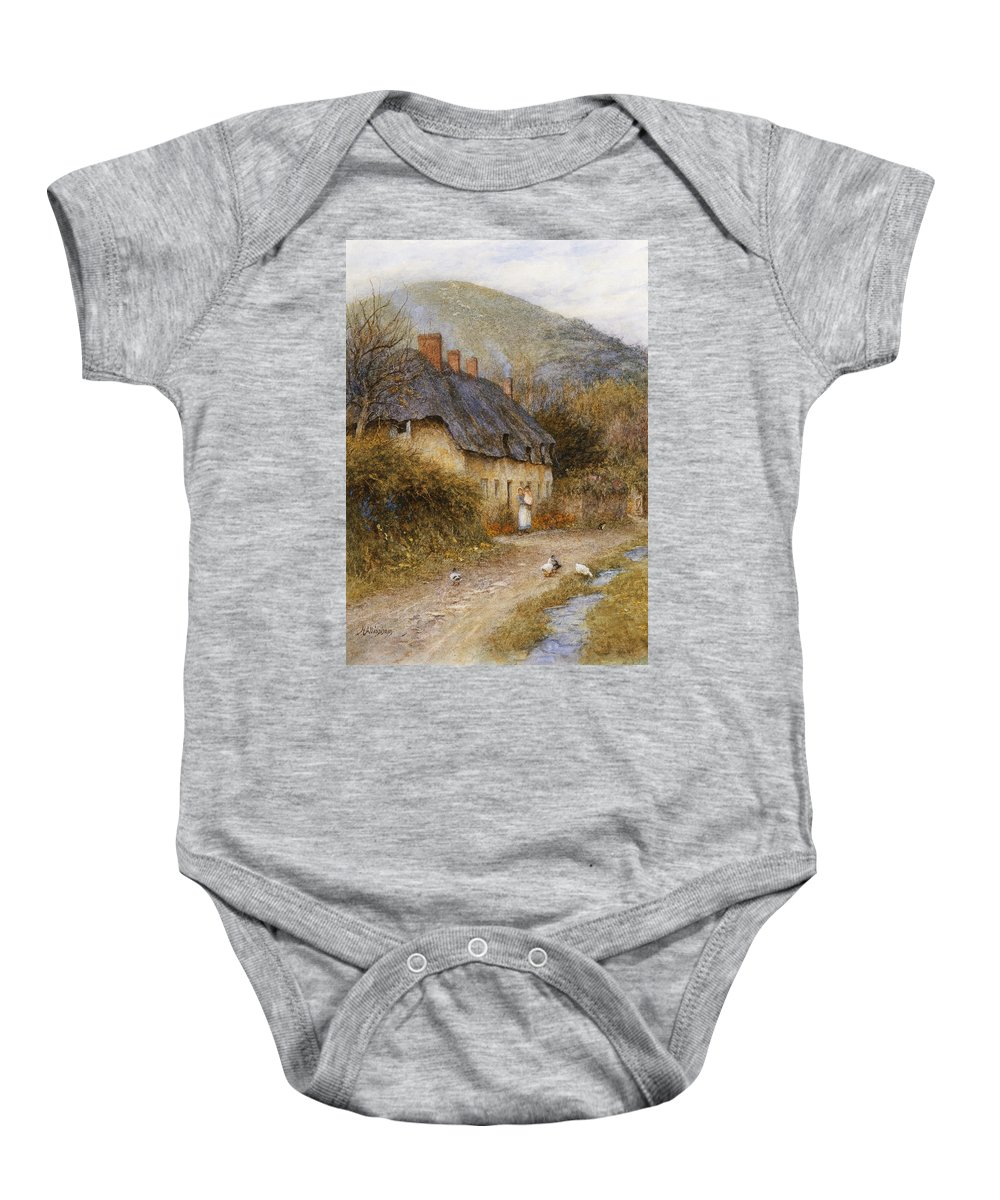 Thatched; Thatch; Cottage; West Country; Path; Lane; Rural; Stream; Ducks; Hill; Mother; Child Baby Onesie featuring the painting At Symondsbury Near Bridport Dorset by Helen Allingham