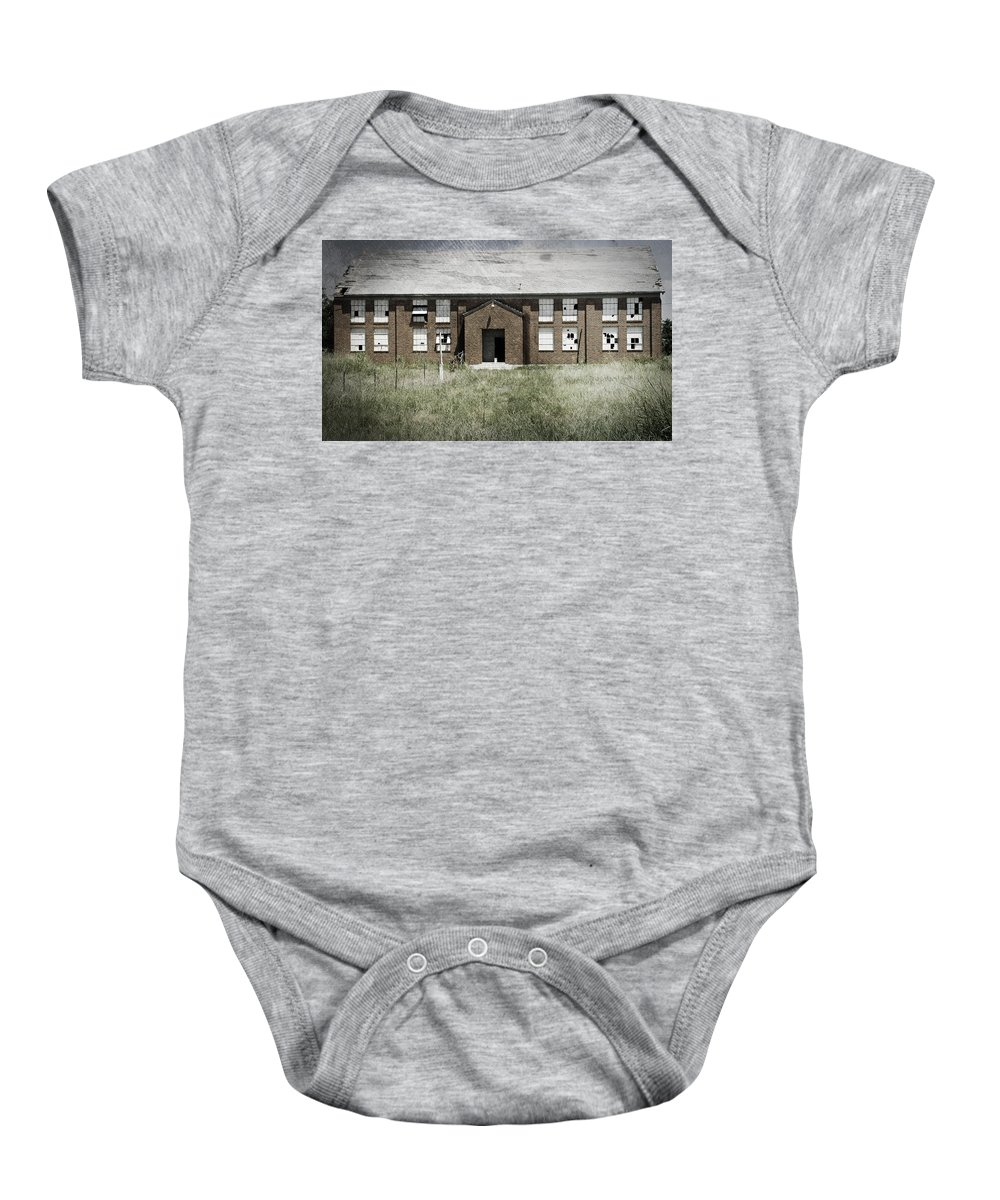 Urbex Baby Onesie featuring the photograph Auditorium by April Davis
