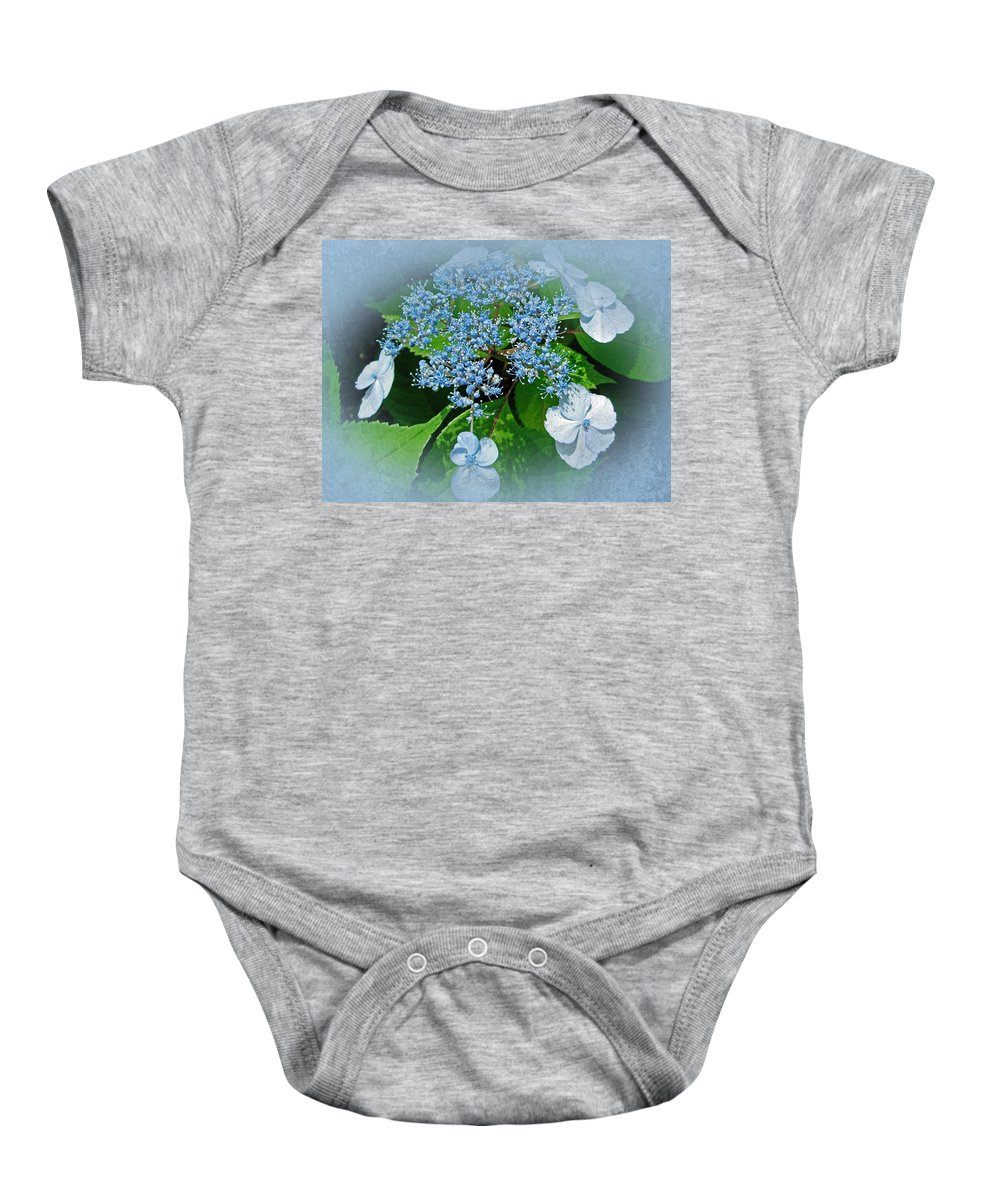 Hydrangea Baby Onesie featuring the photograph Baby Blue Lace Cap Hydrangea by Mother Nature