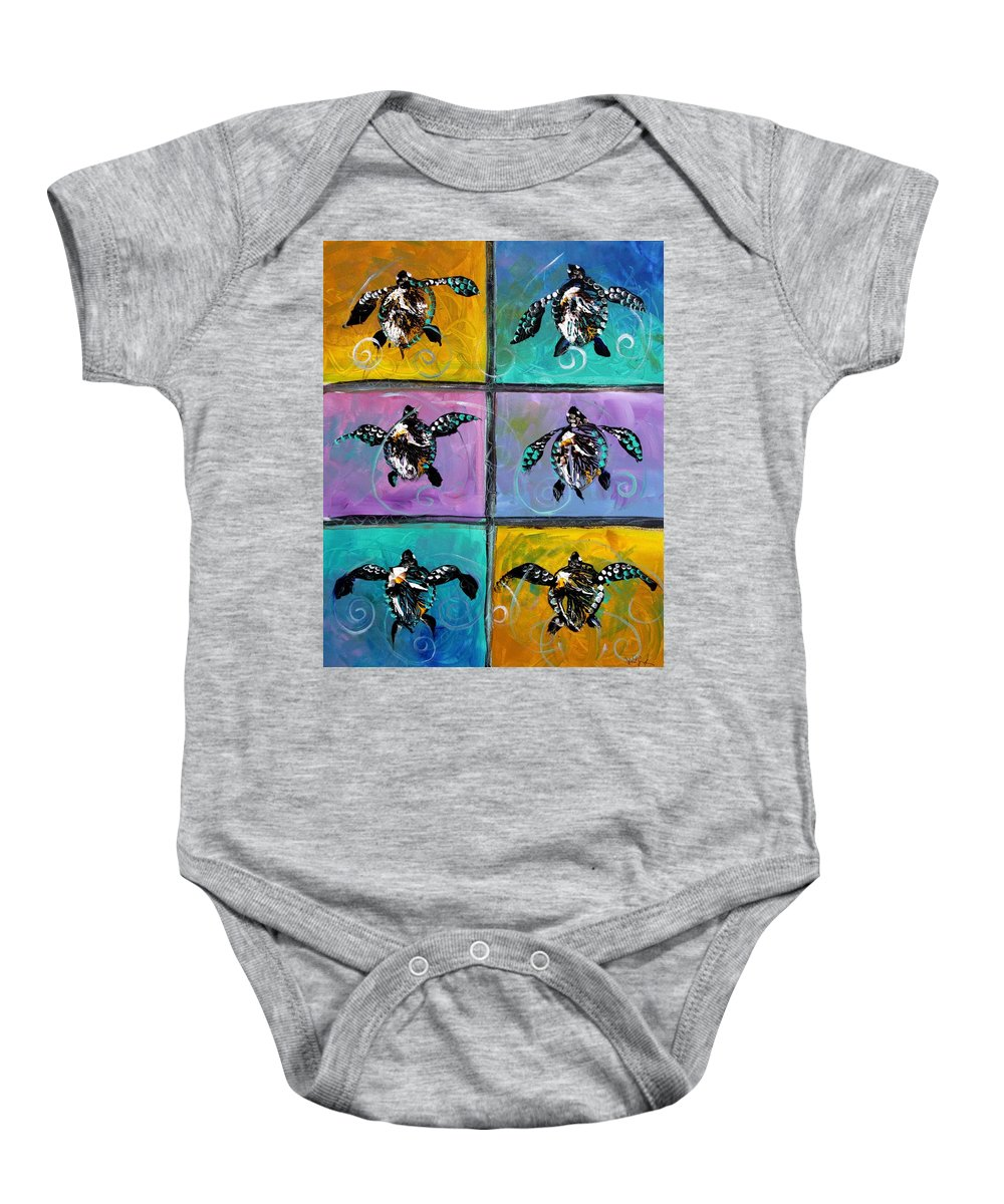 Sea Turtles Baby Onesie featuring the painting Baby Sea Turtles Six by J Vincent Scarpace