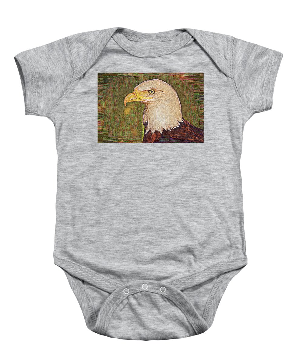 Bald Eagle Baby Onesie featuring the photograph Bald Eagle Embroidered by Chris Thaxter