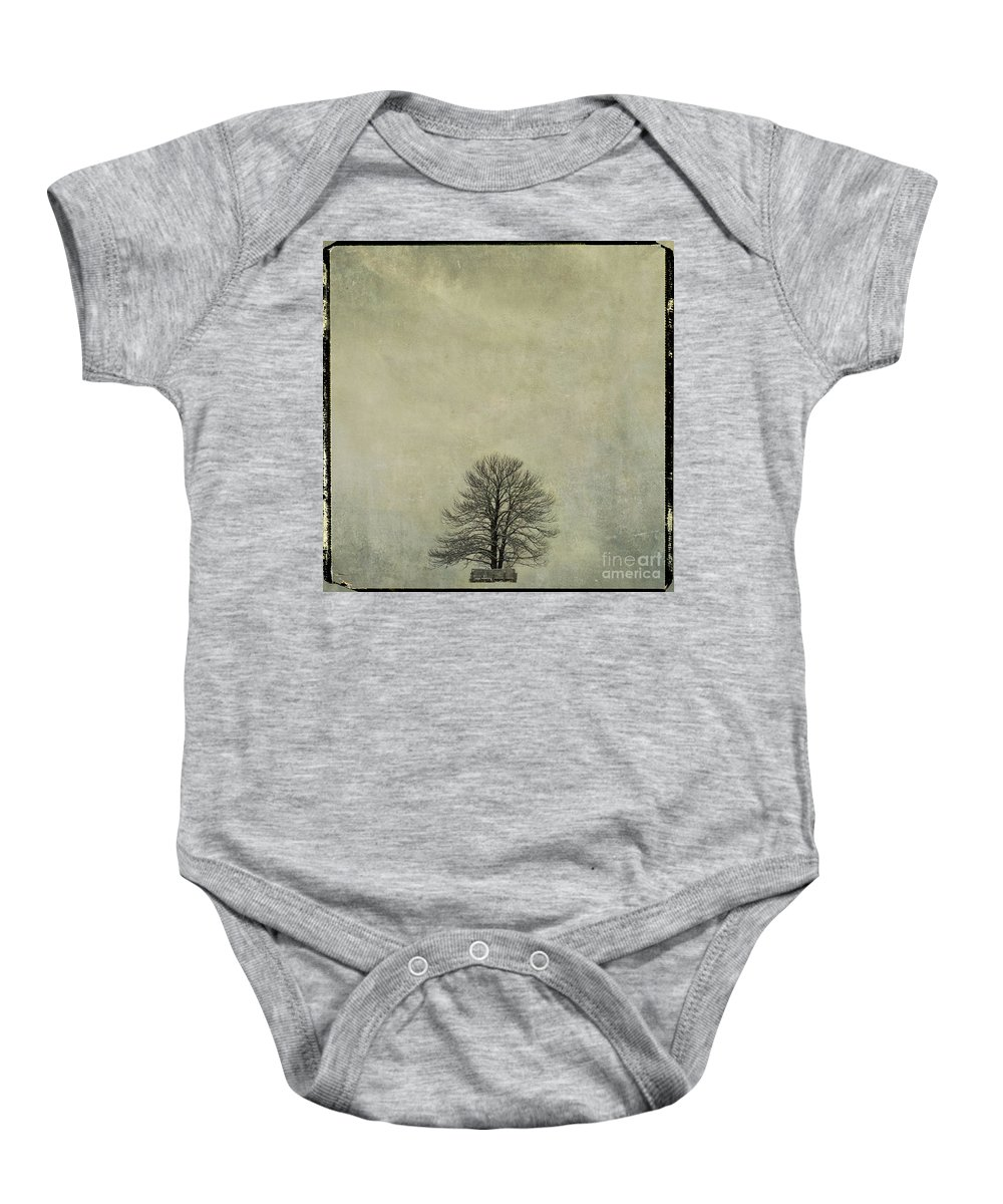 Yellowed Baby Onesie featuring the photograph Bare Tree. Vintage-look. Auvergne. France by Bernard Jaubert