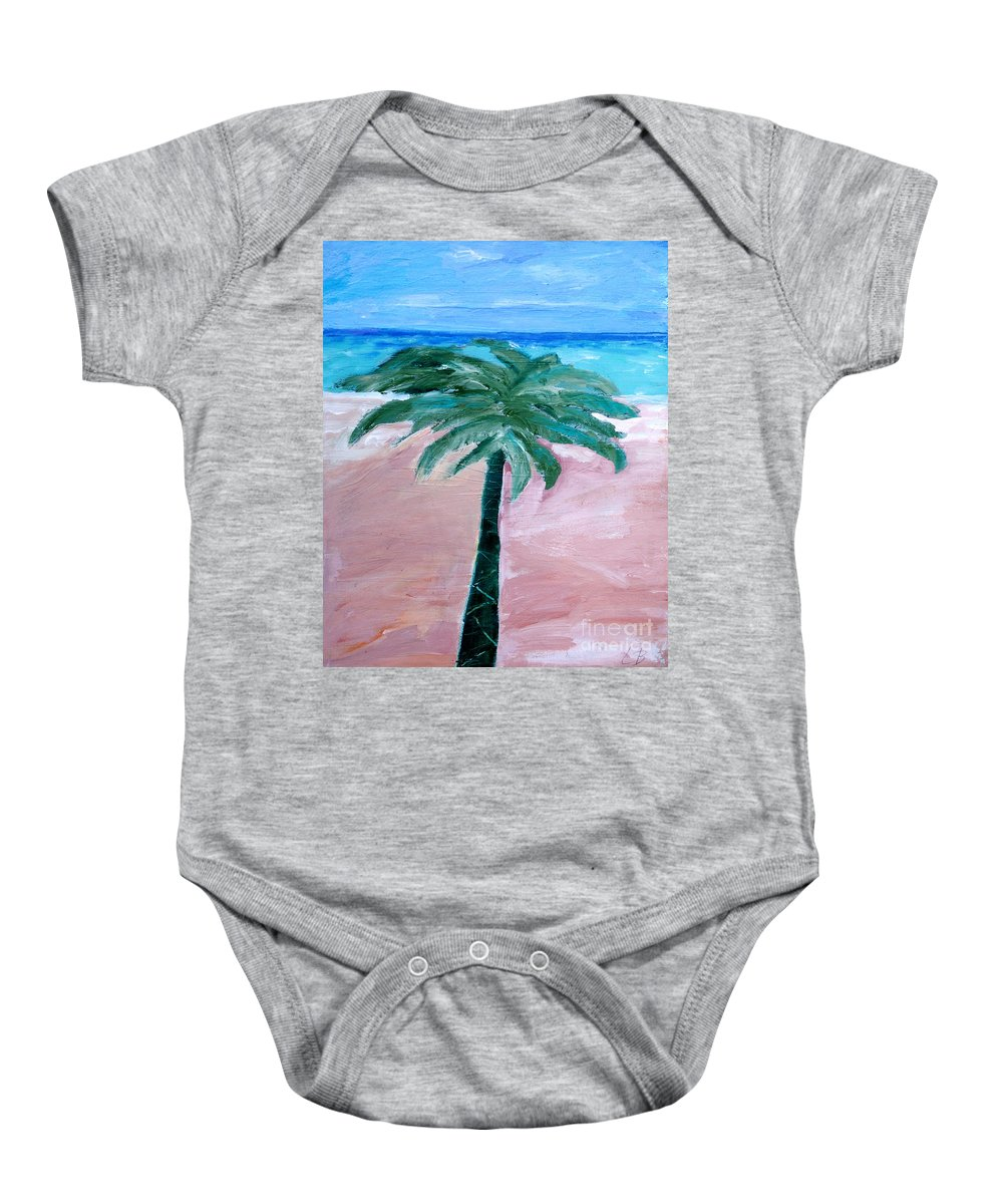 Abstract Baby Onesie featuring the painting Beach Palm by Lisa Baack