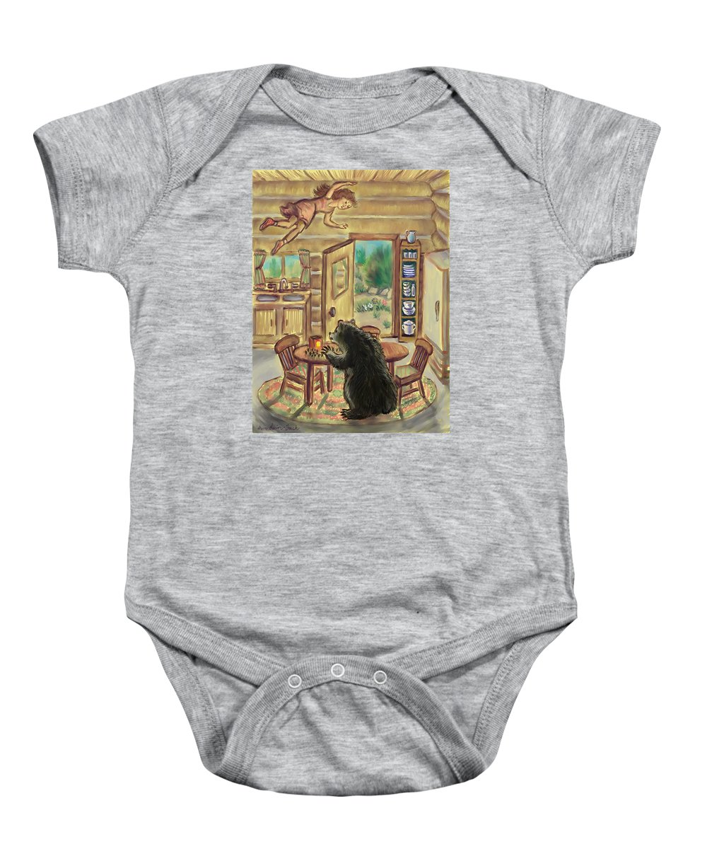 Dream Baby Onesie featuring the digital art Bear In The Kitchen - Dream Series 7 by Dawn Senior-Trask