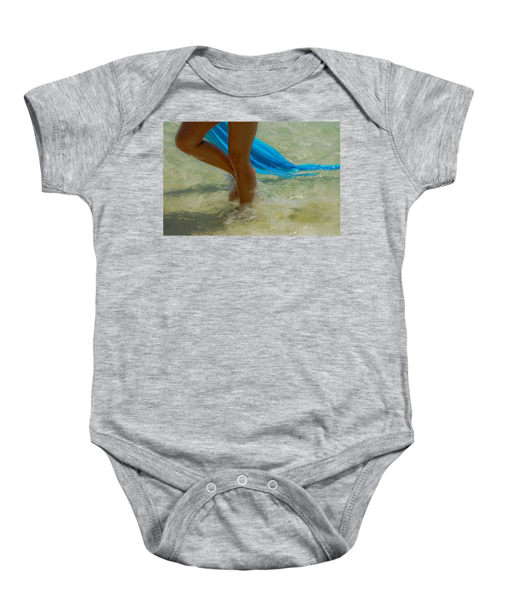 Attraction Baby Onesie featuring the photograph Beautiful Woman Legs In The Crystal Water by Jenny Rainbow