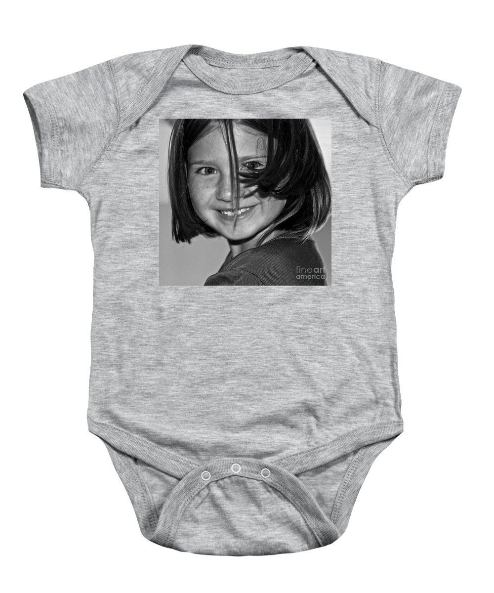Girl Baby Onesie featuring the photograph Beautifully Candid by Gwyn Newcombe