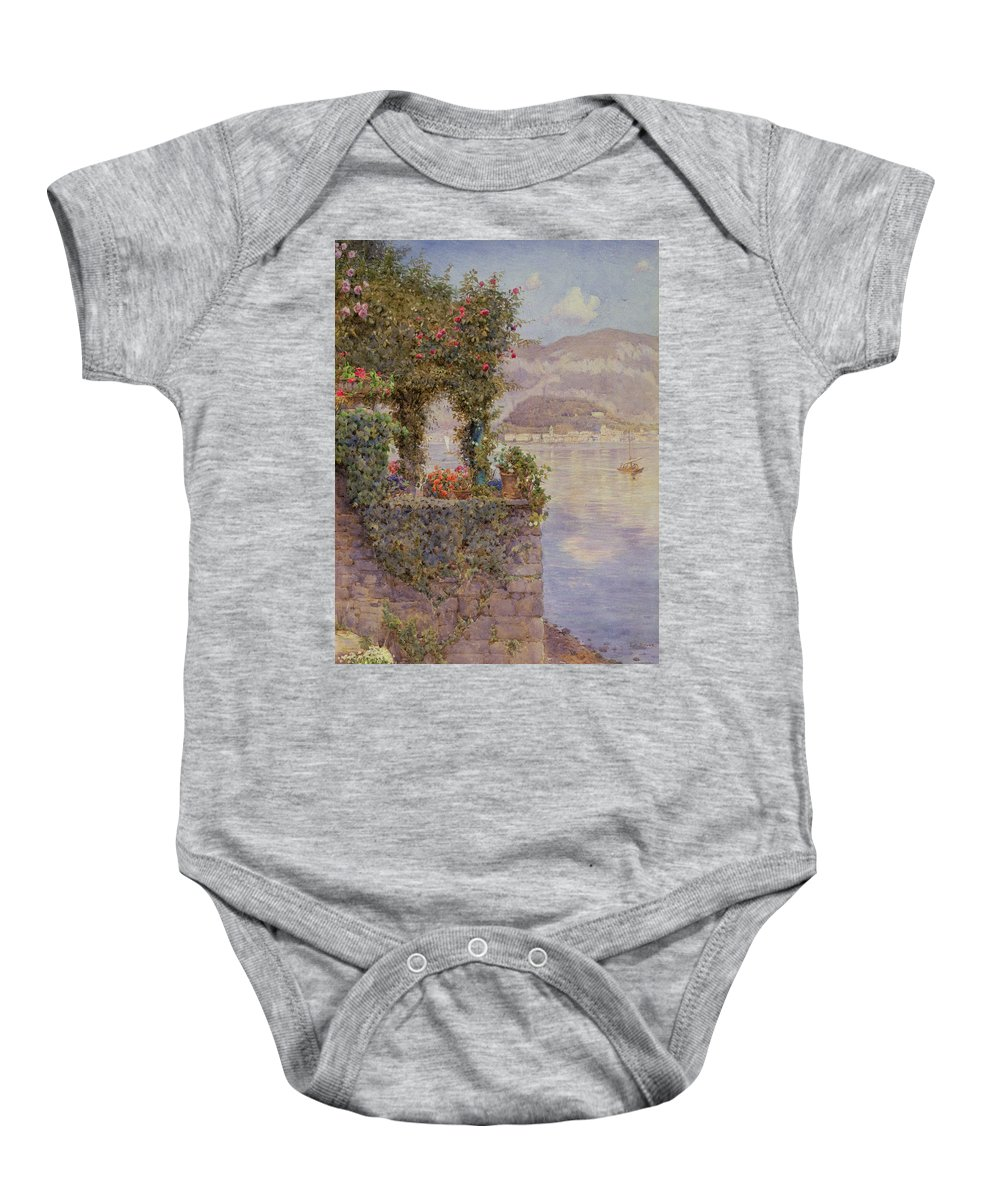 Lake Baby Onesie featuring the painting Bellagio From Tremezzo by Ernest Arthur Rowe