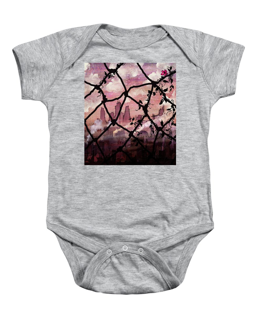 Fences Baby Onesie featuring the photograph Beyond The Chain Link by Rachel Christine Nowicki