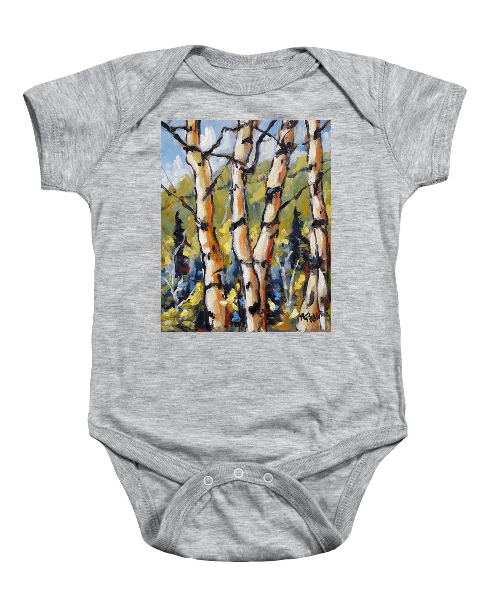 Art Baby Onesie featuring the painting Birches Aglow By Prankearts by Richard T Pranke