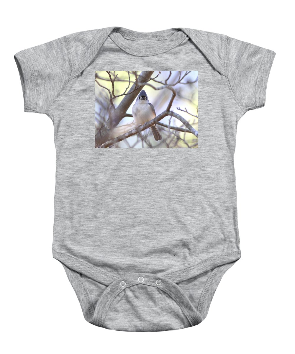 Nature Baby Onesie featuring the photograph Bird - Tufted Titmouse - Busted by Travis Truelove