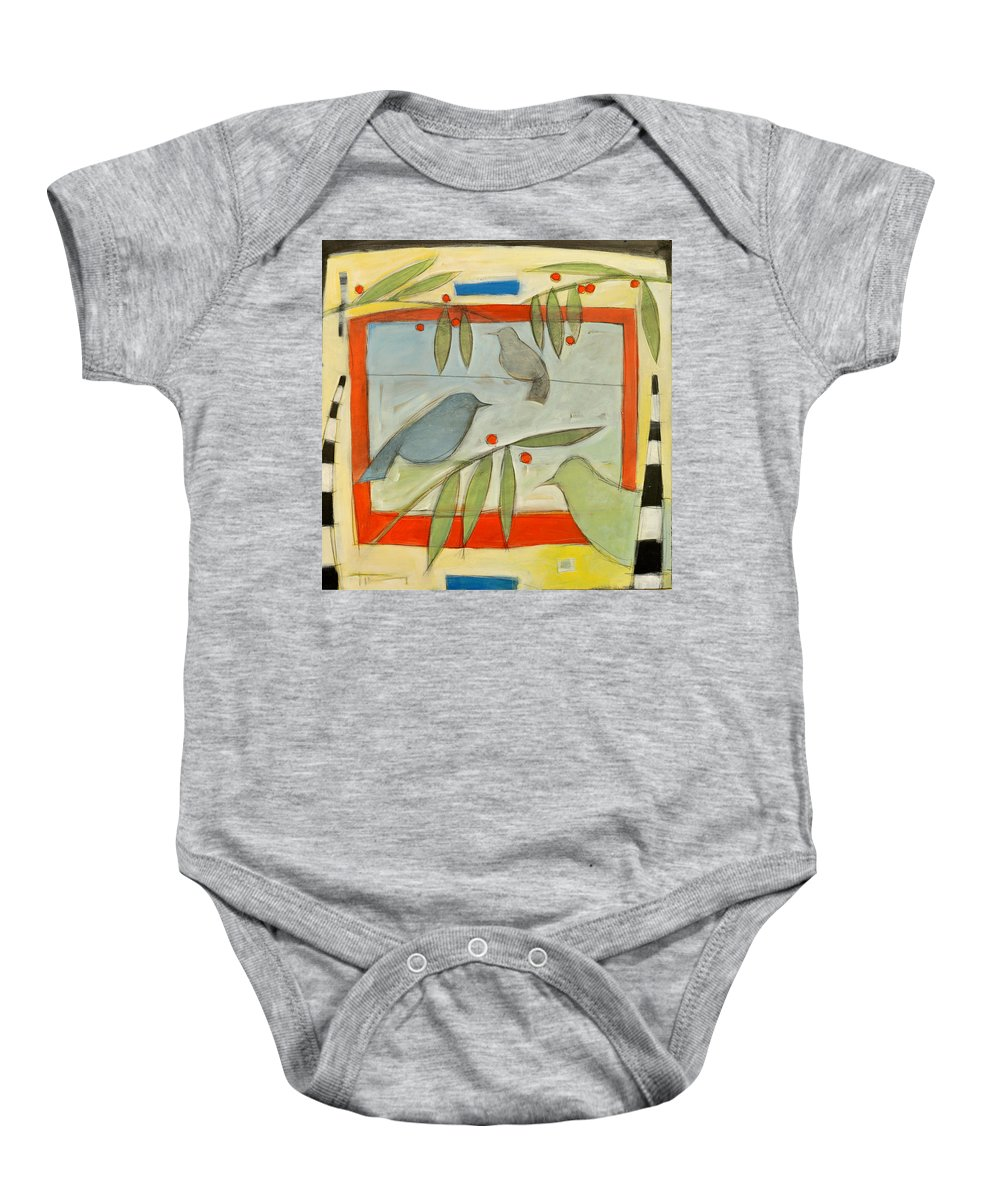 Berries Baby Onesie featuring the painting Birds And Berries by Tim Nyberg