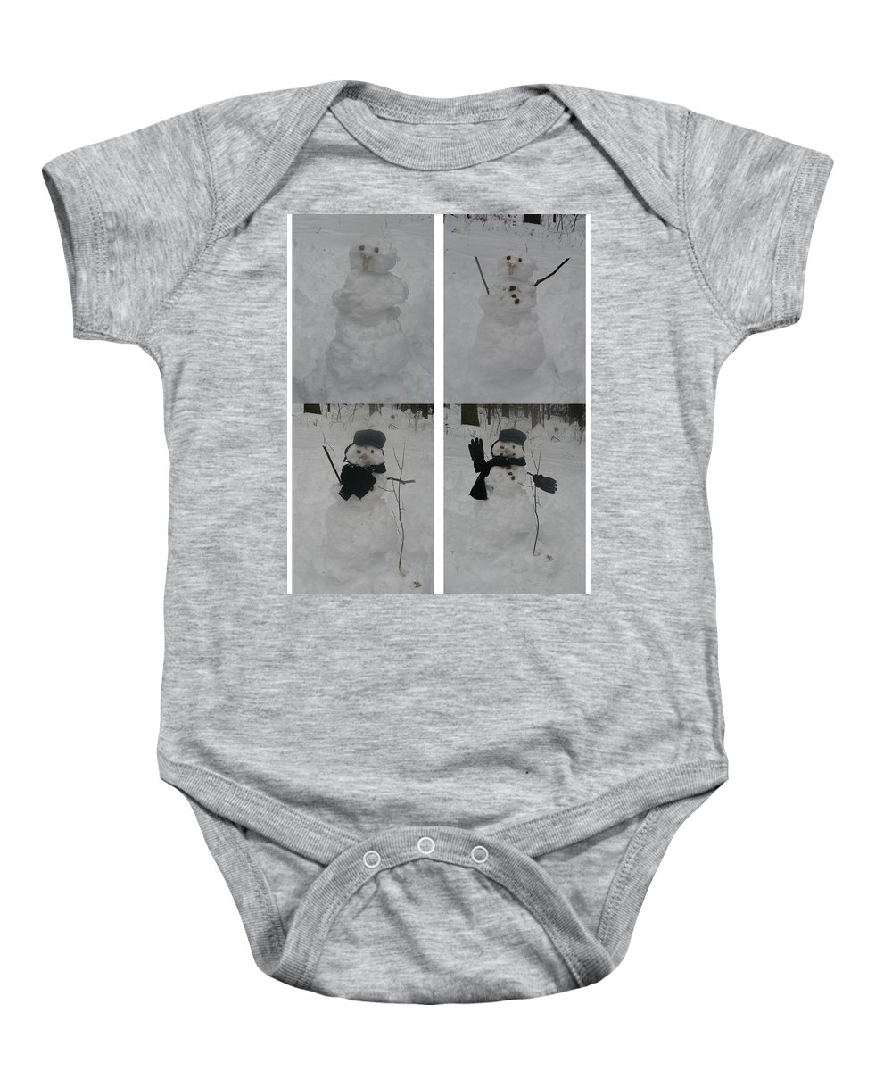 Snow Baby Onesie featuring the photograph Birth Of A Snowman by Richard Bryce and Family
