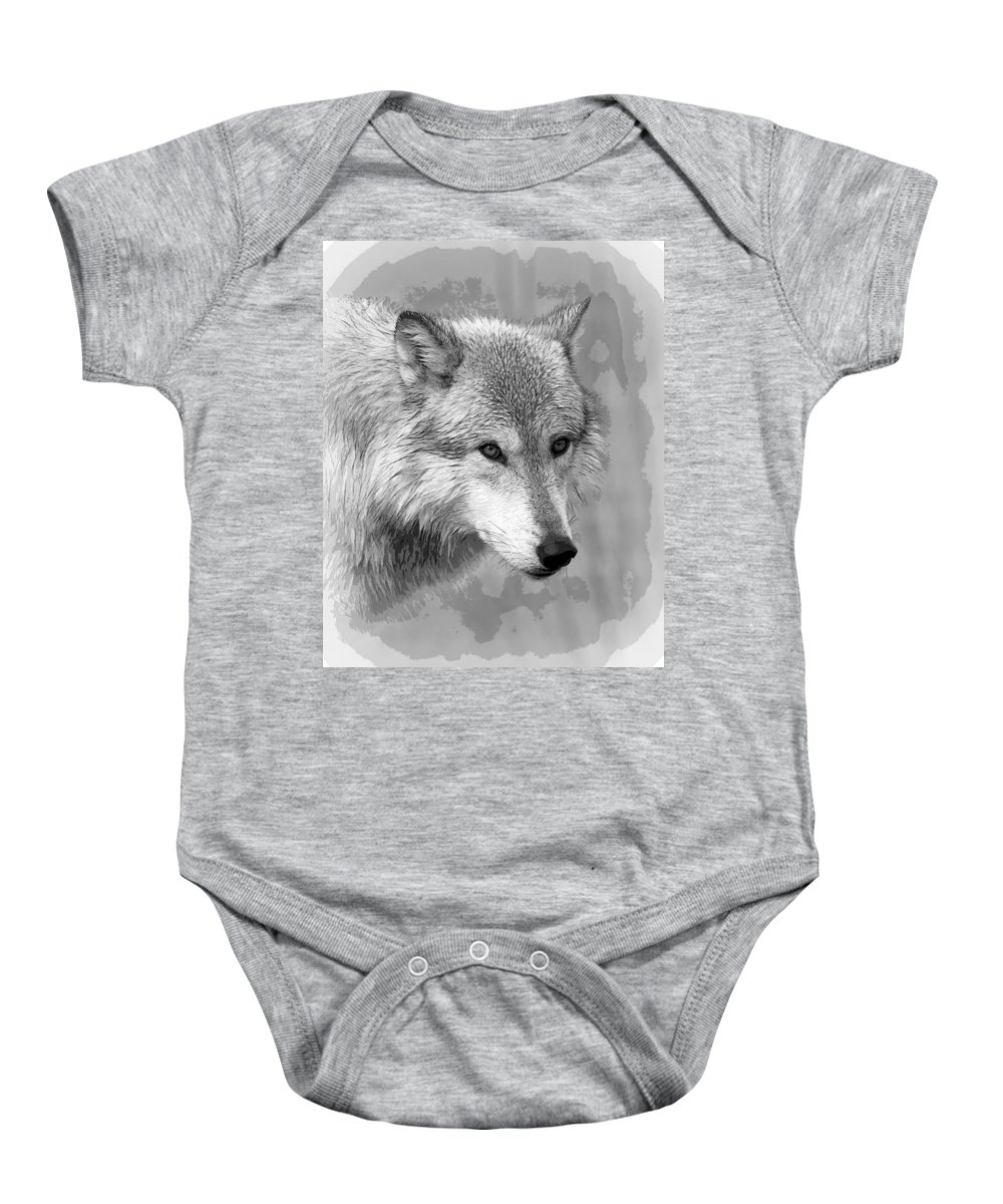 Wolf Baby Onesie featuring the photograph Black And White Grey by Steve McKinzie