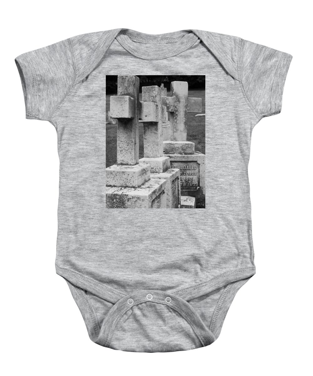 Crosses Baby Onesie featuring the photograph Black And Whtie Corsses by Michele Nelson