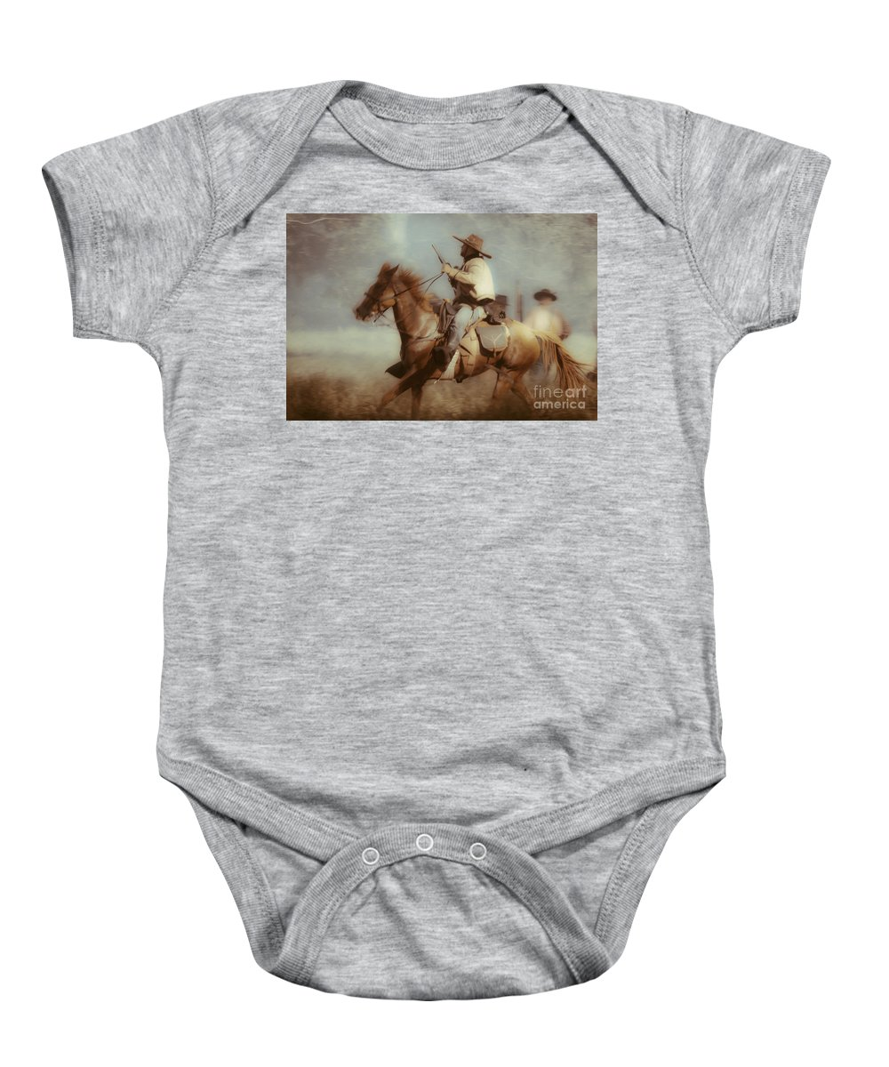 Reenactments Baby Onesie featuring the mixed media Blazing by Kim Henderson