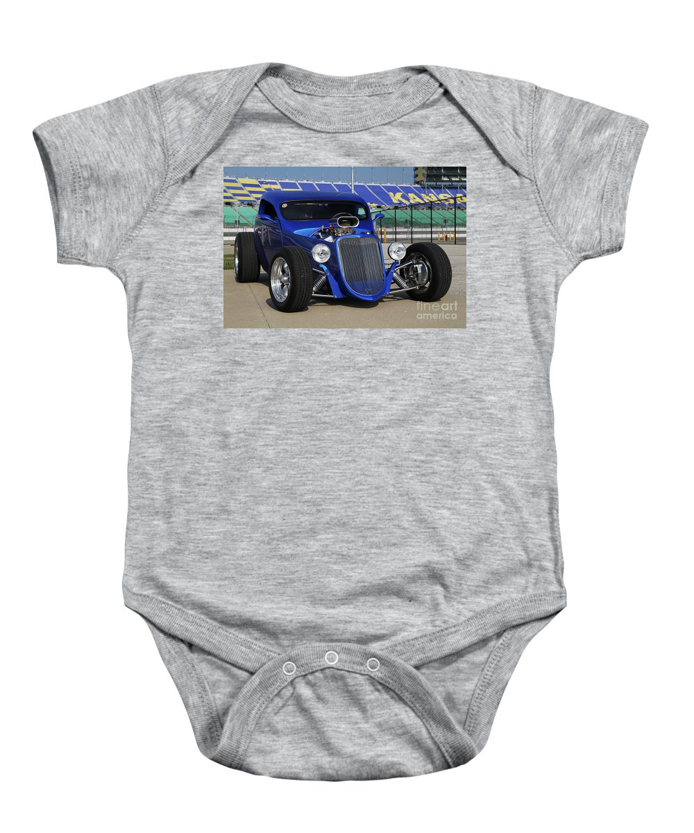 Transportation Baby Onesie featuring the photograph Blue Coupe by Dennis Hedberg