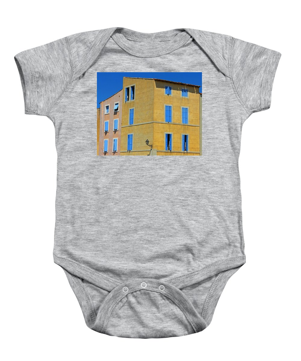 France Baby Onesie featuring the photograph Blue Shutters Martigues France by Dave Mills