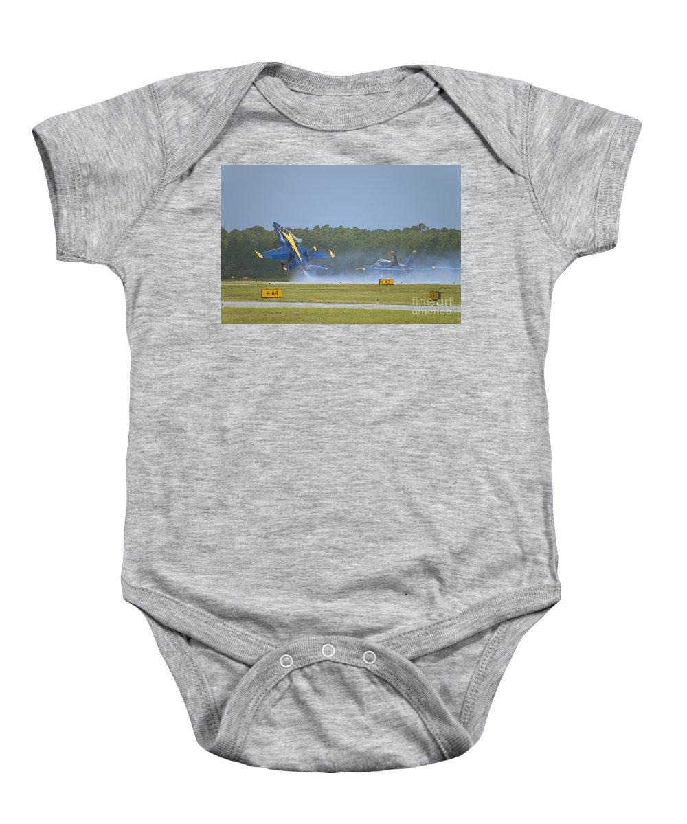 Blue Angels Baby Onesie featuring the photograph Blues Solo Takeoff by Tim Mulina