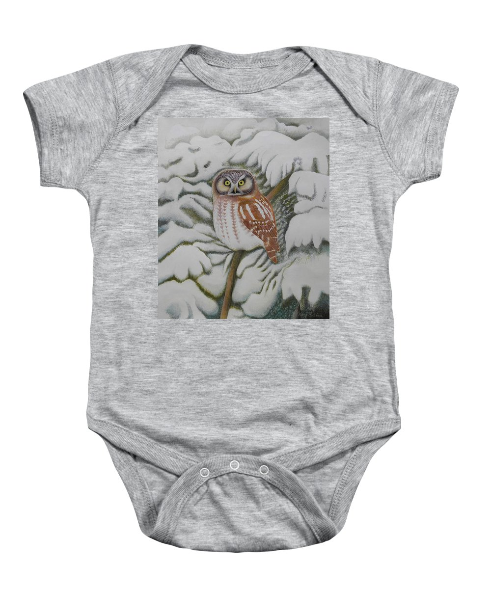 Boreal Owl Baby Onesie featuring the painting Boreal Owl by Alan Suliber