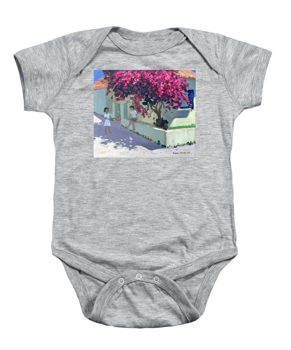 Child Baby Onesie featuring the painting Bouganvillaea by Andrew Macara