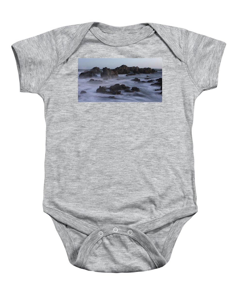 Coastal Wall Art Baby Onesie featuring the photograph Breaker's Wall by Paul Maples