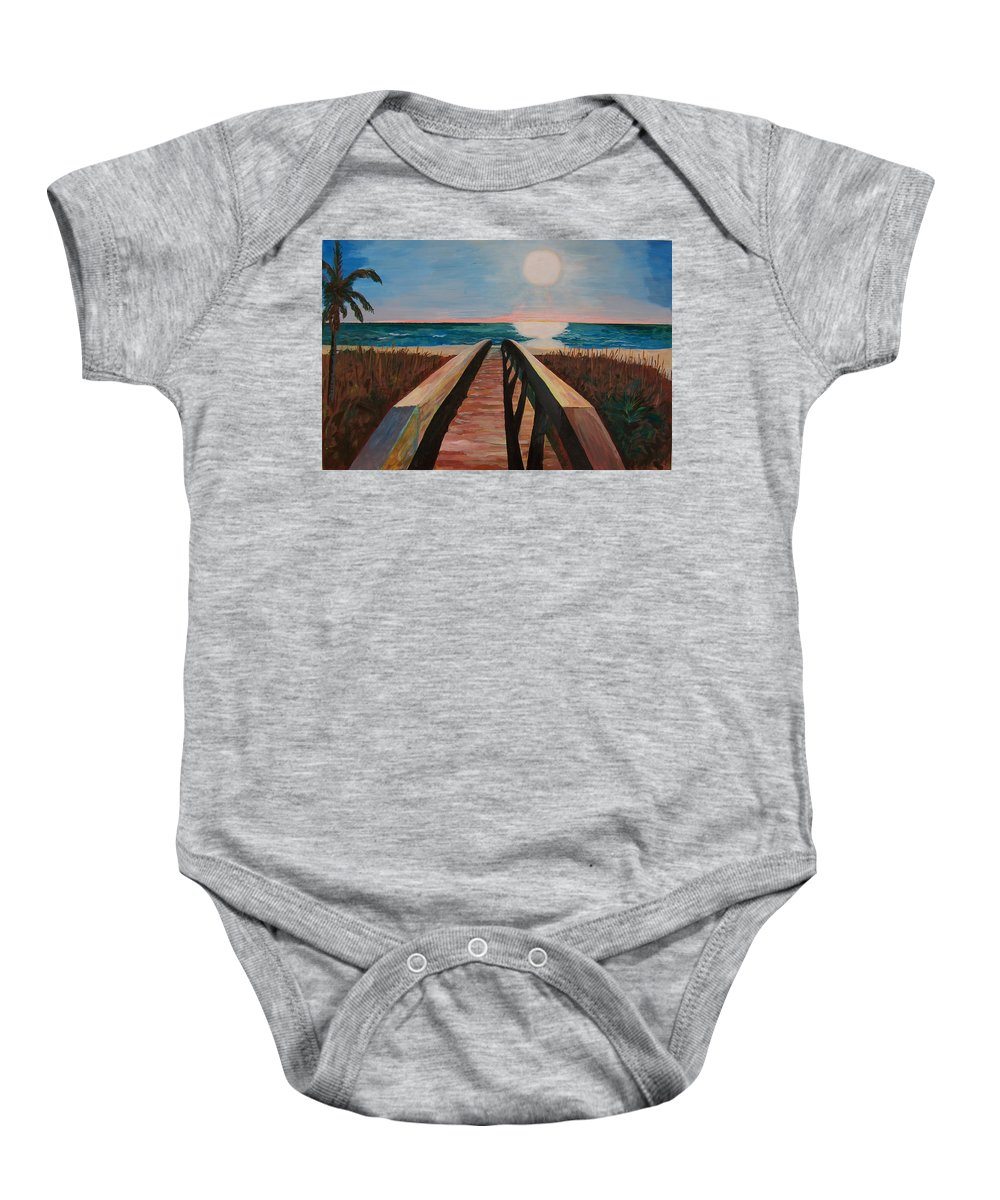 Painting Baby Onesie featuring the painting Bridge To Beach by Daniel Gale