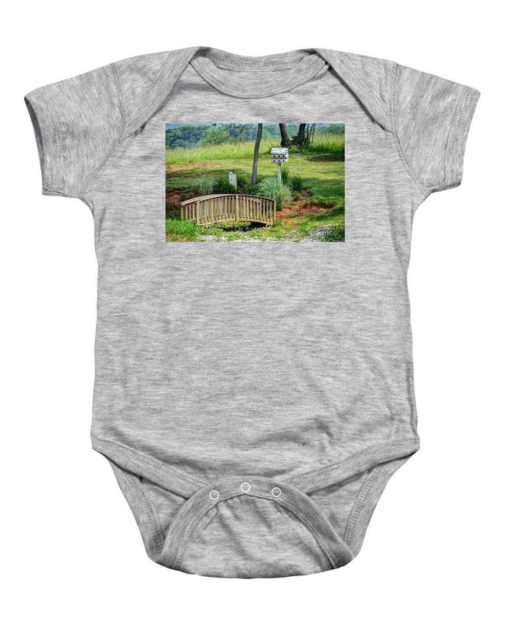 Birdhouse Baby Onesie featuring the photograph Bridge To Nowhere by Debbi Granruth