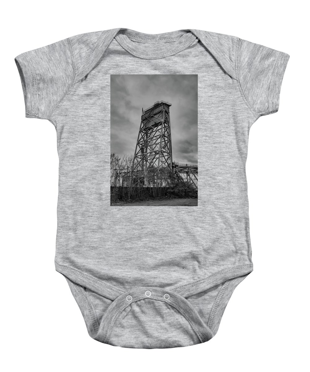 Railroad Baby Onesie featuring the photograph Bridge Tower 3390 by Guy Whiteley