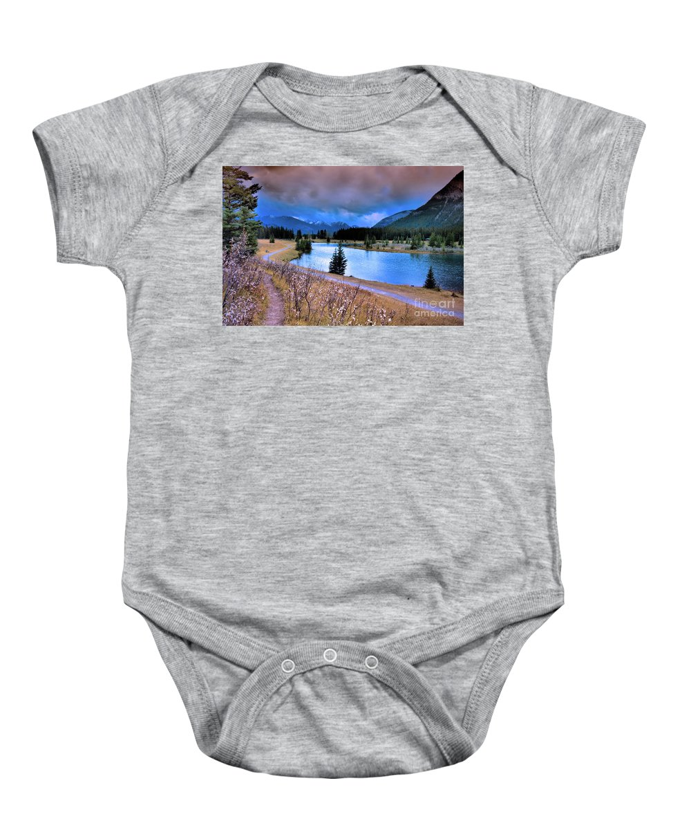 Banff Baby Onesie featuring the photograph Brooding Skies by Tara Turner