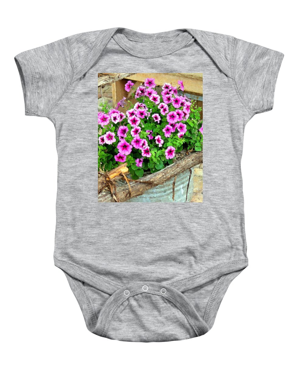 Flowers Baby Onesie featuring the photograph Bucket Of Blooms by Amber Stubbs