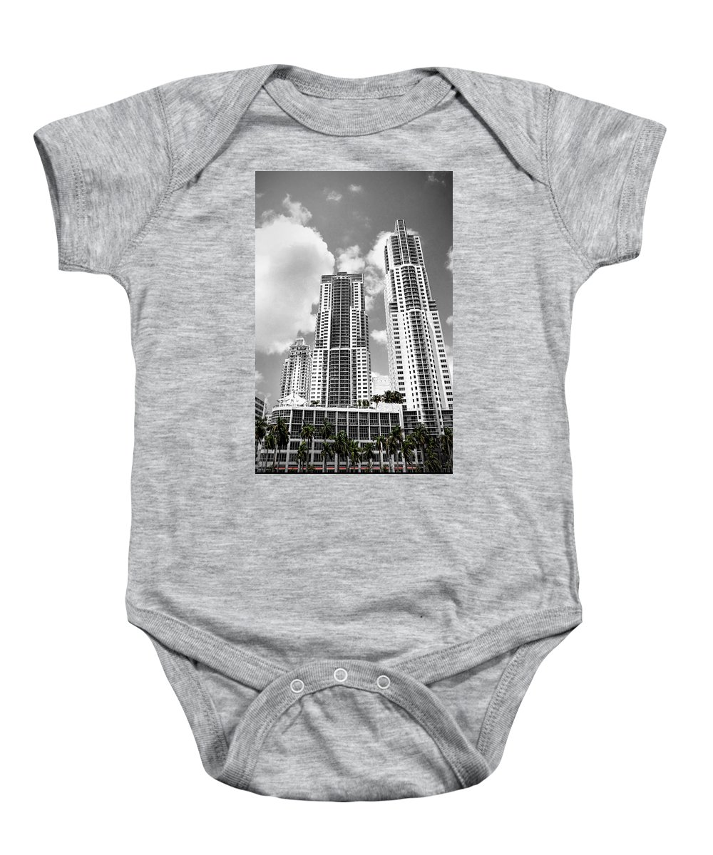 City Baby Onesie featuring the photograph Buildings Downtown Miami by Rudy Umans