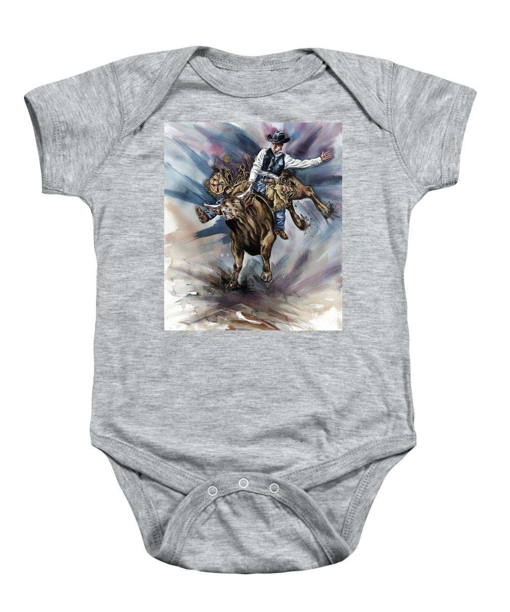 Bull Baby Onesie featuring the photograph Bull Bucking His Rider by Design Pics Eye Traveller
