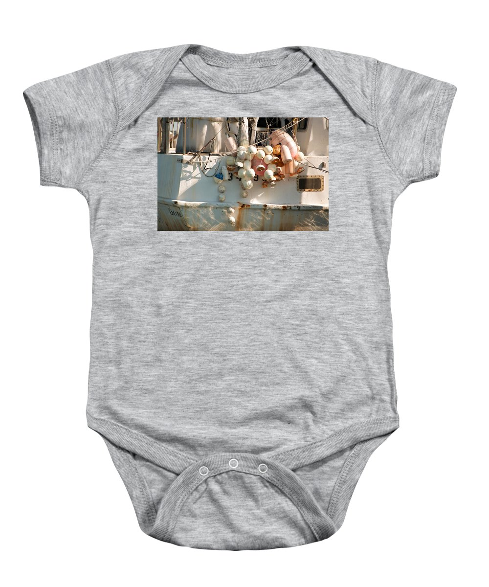 Buoys Baby Onesie featuring the photograph Buoys by Christine Stonebridge