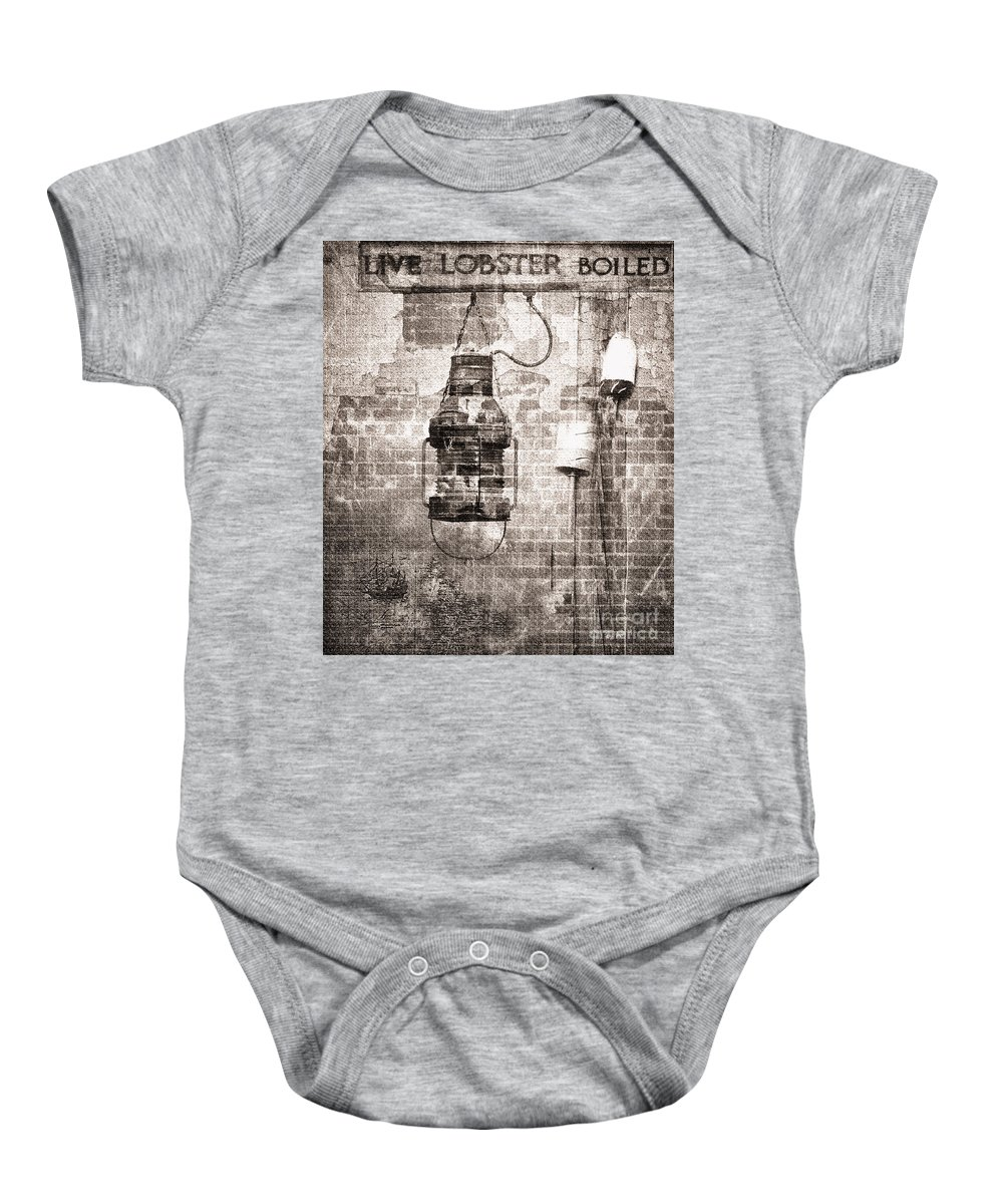 Vintage Baby Onesie featuring the photograph By The Sea In Brown by Betty LaRue