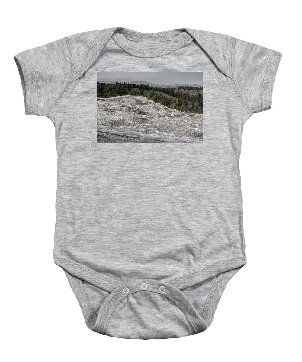 Yellowstone Baby Onesie featuring the photograph Calcite Bench - Mammoth Hot Springs by Daniel Hagerman