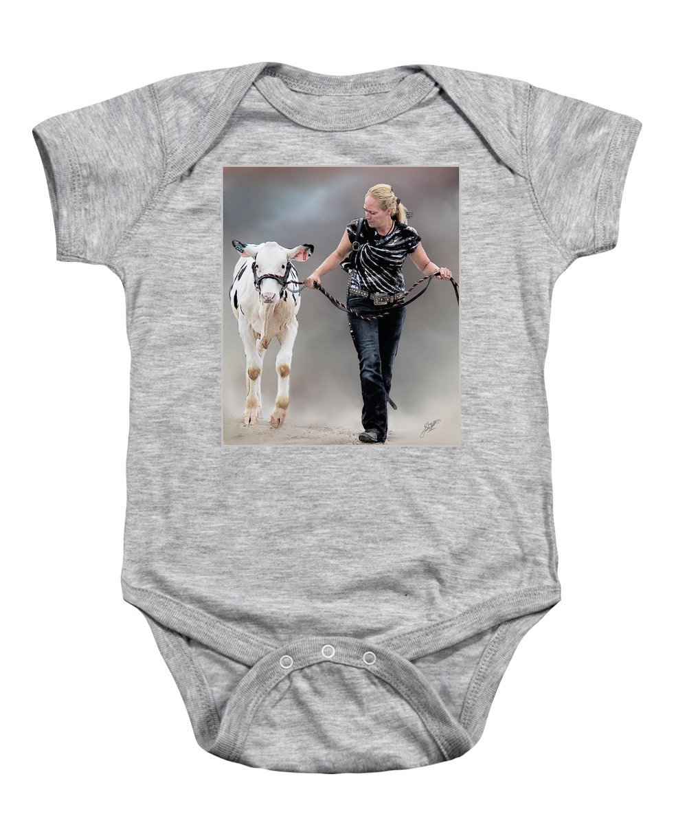 County Fair Pictures Baby Onesie featuring the painting Calf Competition by Tom Schmidt
