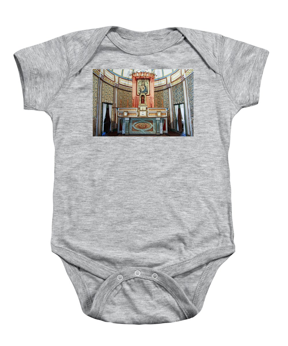 Cataldo Baby Onesie featuring the photograph Cataldo Mission Altar - Idaho State by Daniel Hagerman
