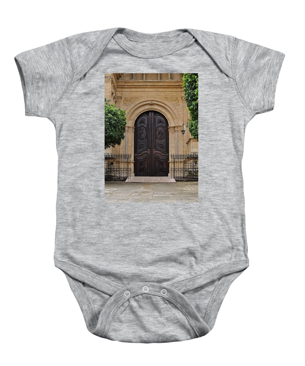 Cathedral Of Malaga Baby Onesie featuring the photograph Cathedral Of Malaga by Mary Machare